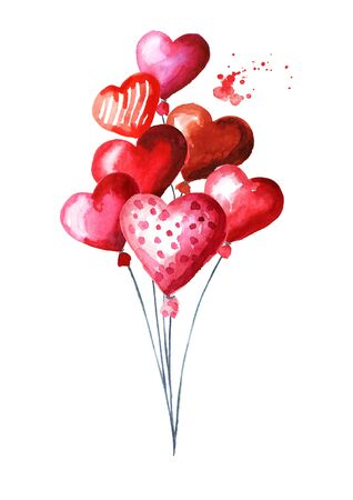 Love and romance illustration. Valentines red heart balloons. Watercolor hand drawn illustration isolated on white background Zdjęcie Seryjne - 128946204