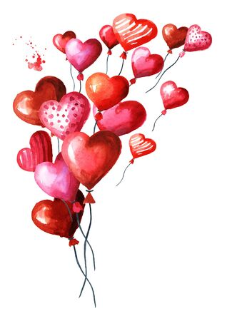 Love and romance, Valentines red heart balloons. Watercolor hand drawn illustration, isolated on white background