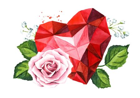 Love and romance. Crystal heart and Rose flowers. Wedding concept. Watercolor hand drawn illustration, isolated on white background Zdjęcie Seryjne