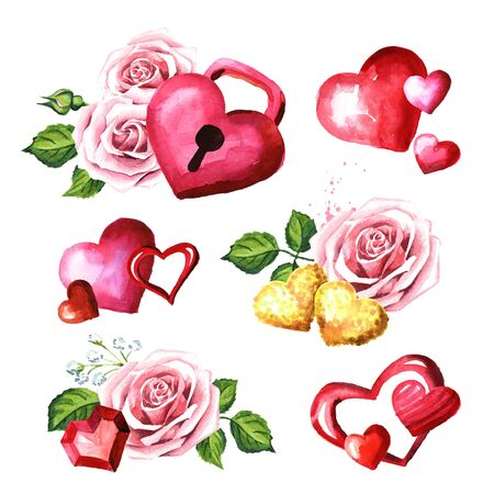Love and romance. Hearts and Rose flowers set. Wedding concept. Watercolor hand drawn illustration, isolated on white background