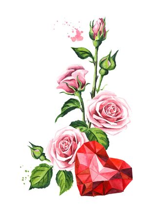 Love and romance. Rose flowers and crystal heart, Watercolor hand drawn illustration, isolated on white background Zdjęcie Seryjne - 128946210