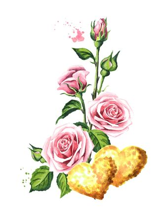 Love and romance. Rose flowers and golden hearts, Watercolor hand drawn illustration, isolated on white background Zdjęcie Seryjne - 128946213