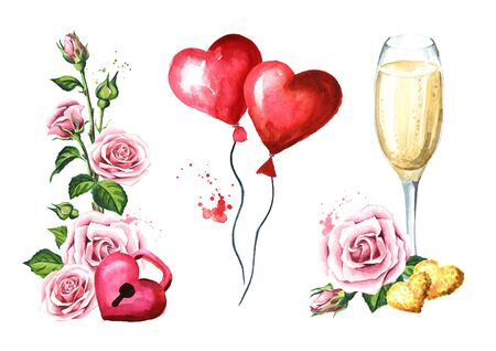 Love and romance. Rose flowers and Padlock heart, glass of champagne, balloons hearts. Happy Valentines Day concept. Watercolor hand drawn illustration isolated on white background