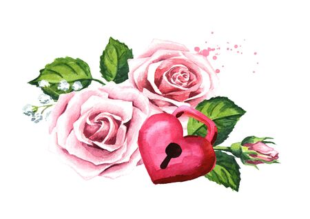Love and romance. Rose flowers and Padlock heart. Wedding concept. Watercolor hand drawn illustration, isolated on white background