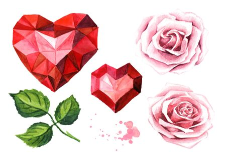 Love and romance. Rose flowers and ruby crystal heart set. Wedding concept. Watercolor hand drawn illustration, isolated on white background Zdjęcie Seryjne - 128946255