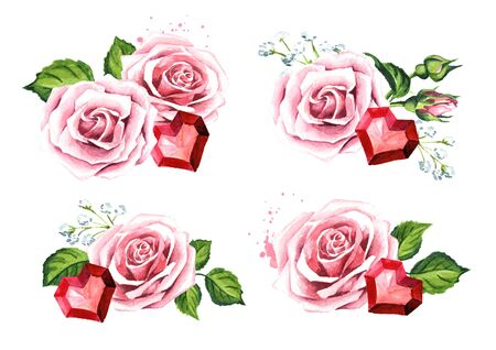 Love and romance. Rose flowers and ruby crystal heart. Wedding concept set. Watercolor hand drawn illustration, isolated on white background