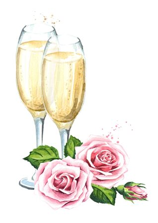 Love and romance. Rose flowers and two glasses of champagne. Wedding concept. Watercolor hand drawn illustration, isolated on white background Zdjęcie Seryjne - 128946258