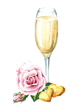 Love and romance. Rose flowers, golden hearts and glass of champagne. Watercolor hand drawn illustration, isolated on white background Zdjęcie Seryjne
