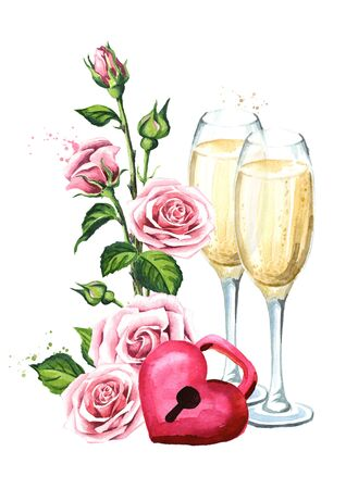 Love and romance. Rose flowers, Padlock heart and two glasses of champagne. Wedding concept. Watercolor hand drawn illustration, isolated on white background