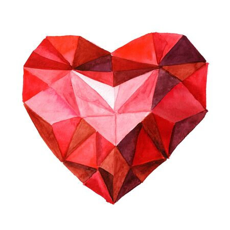 Love and romance. Ruby crystal heart. Watercolor hand drawn illustration, isolated on white background Zdjęcie Seryjne - 128946256