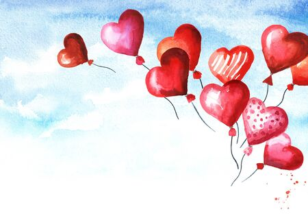 Saint Valentine greeting card with copy space for text. Love and romance. Valentines red heart balloons fly away in the sky. Watercolor hand drawn illustration Zdjęcie Seryjne