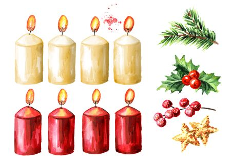 Advent or christmas candles with decor elements set, fourth Advent. Watercolor hand drawn illustration isolated on white background