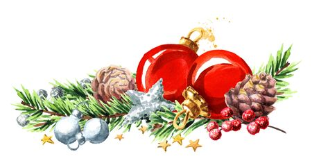 Christmas border with fir branches, red balls, pine cones and stars. Watercolor hand drawn illustration, isolated on white background.
