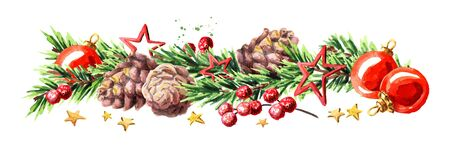 Christmas border with fir branches, red baubles, pine cones and stars. Watercolor hand drawn illustration, isolated on white background