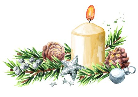 Christmas or Advent background with a burning candle decorated with fir branches and ornaments. Watercolor hand drawn illustration
