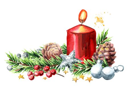 Christmas or Advent burning candle decorated with fir branches and ornaments. Watercolor hand drawn illustration, isolated on white background