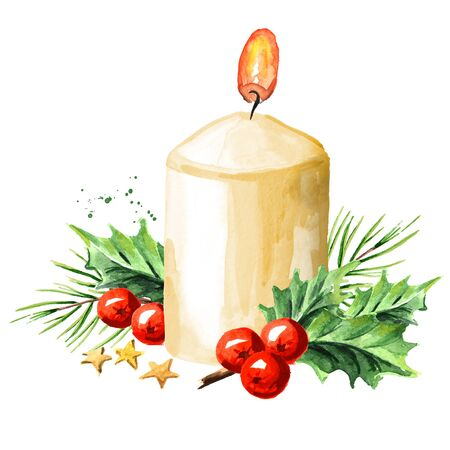 Christmas or advent candle with decoration. Watercolor hand drawn illustration, isolated on white background