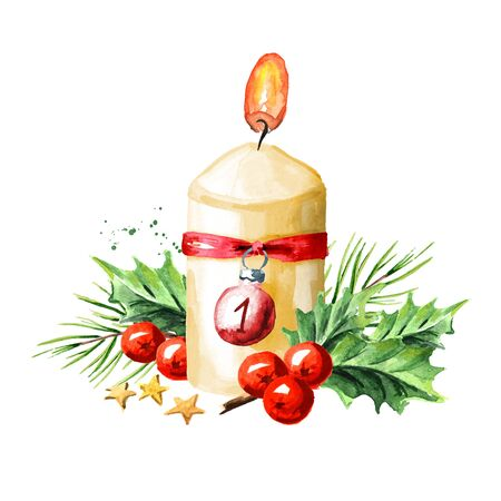 First sunday of advent candle with decoration. Watercolor hand drawn illustration, isolated on white background Zdjęcie Seryjne