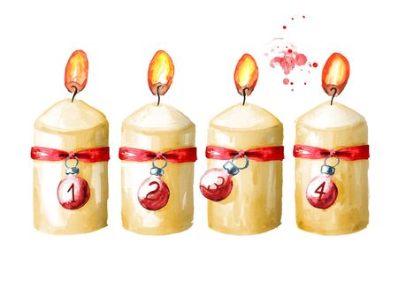 Four  Advent  christmas candles set. Fourth Advent. Watercolor hand drawn illustration isolated on white background