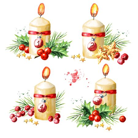 Four  Advent  christmas candles with decoration set. Fourth Advent. Watercolor hand drawn illustration isolated on white background
