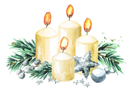 Four Advent  christmas candles with decoration. Fourth Advent. Watercolor hand drawn illustration isolated on white background Zdjęcie Seryjne