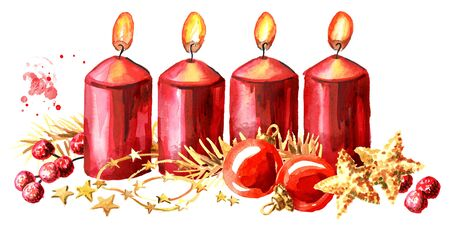 Four Advent christmas candles with decoration. Fourth Advent. Watercolor hand drawn illustration, isolated on white background Zdjęcie Seryjne - 128946272