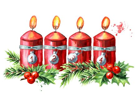 Four Advent red christmas candles, fourth Advent. Watercolor hand drawn illustration isolated on white background