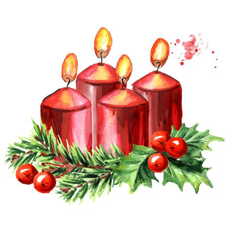Four Advent red christmas candles. Fourth Advent. Watercolor hand drawn illustration, isolated on white background