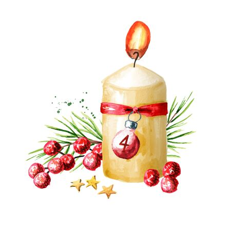 Fourth sunday of advent candle with decoration. Watercolor hand drawn illustration, isolated on white background