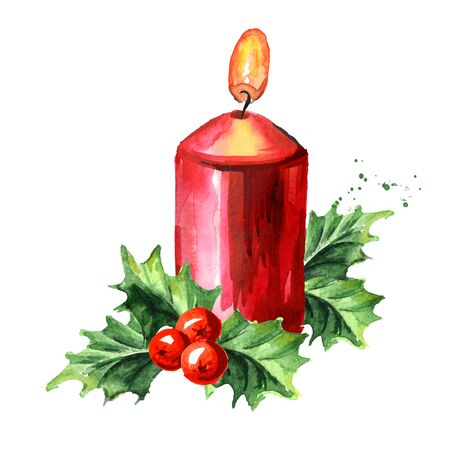 Red Christmas or advent candle with decoration. Watercolor hand drawn illustration isolated on white background