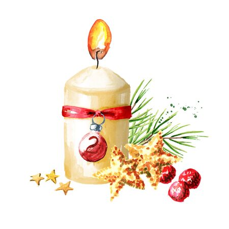 Second sunday of advent candle with decoration. Watercolor hand drawn illustration, isolated on white background