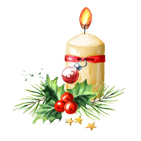 Third sunday of advent candle with decoration. Watercolor hand drawn illustration, isolated on white background Zdjęcie Seryjne - 128946289