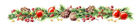 Wide Christmas border with fir branches, red and silver baubles, pine cones and stars.. Watercolor hand drawn illustration, isolated on white background