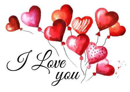 Love and romance card. Valentines red heart balloons, Happy Valentines Day.