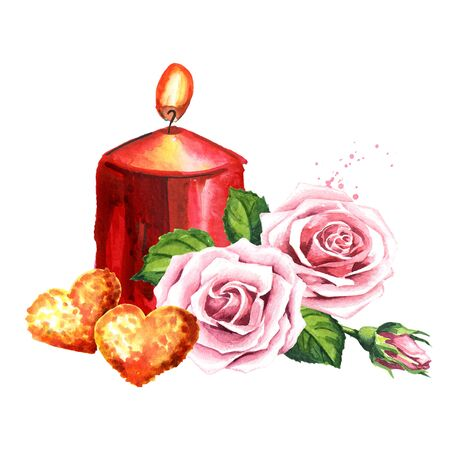 Love and romance. 2 Golden hearts, candle and rose flowers. Zdjęcie Seryjne - 129844028