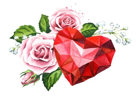 Love and romance. Crystal heart and Rose flowers.