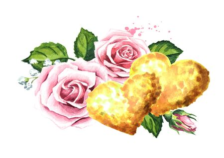 Love and romance. Rose flowers and golden hearts.