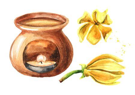 Ylang-Ylang yellow flower and aroma lamp set on white