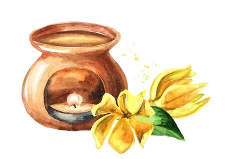 Ylang-Ylang yellow flower and aroma lamp on white