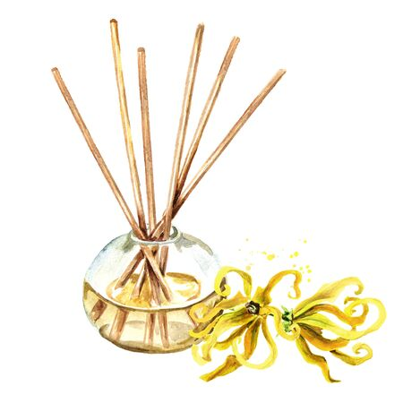 Ylang-Ylang liquid in a glass bottle with sticks and a flower. Zdjęcie Seryjne - 131569550