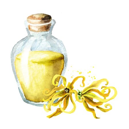 Ylang-Ylang or Cananga odroata essential oil with flower and glass bottle.