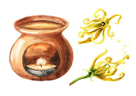 Ylang-Ylang yellow flower and aroma lamp set.