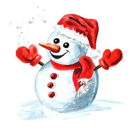 Bonhomme de neige gai dans un bonnet, une écharpe et des mitaines rouges