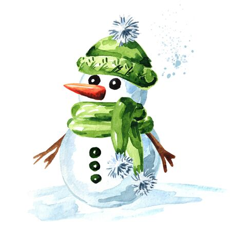 Cheerful snowman in green cap, scarf and mittens.