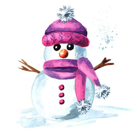 Cheerful snowman in pink cap and scarf