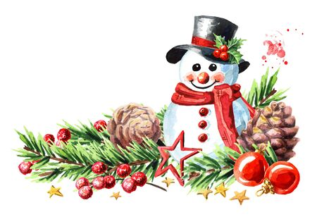 Christmas and New year  with snowman decorated with fir branches and ornaments. Zdjęcie Seryjne