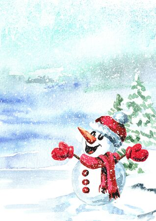 Cute smiling snowman in a red cap and scarf in winter landscape. Zdjęcie Seryjne