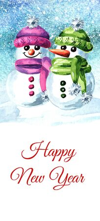 Cute smiling snowmen. New year and Christmas  and greeting card or invitation.