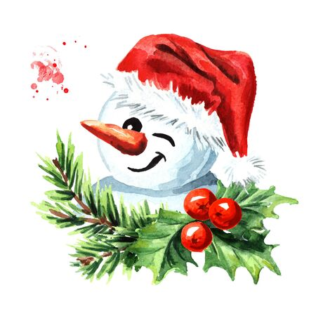 Cute snowman blinking and smiling in a red cap and scarf with holly berries and fir branch decoration.