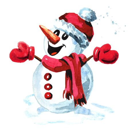 Happy snowman in a red cap, scarf and mittens. Zdjęcie Seryjne
